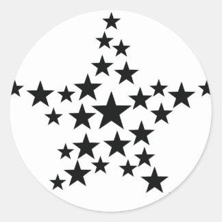 estrella en icono de la estrella pegatina redonda