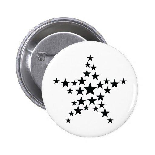 estrella en icono de la estrella pin redondo 5 cm