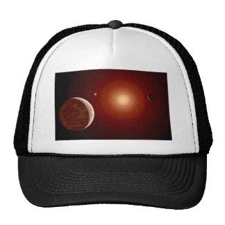 Estrella enana roja y Exoplanets Gorros Bordados