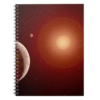 Estrella enana roja y Exoplanets Libro De Apuntes Con Espiral