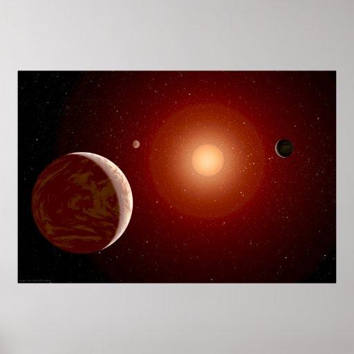 Estrella enana roja y Exoplanets Poster
