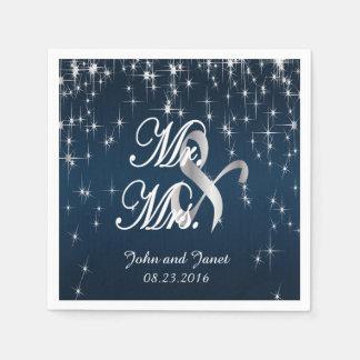 Estrella encantadora pegada casando azules marinos servilletas desechables