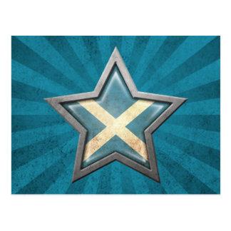 Estrella escocesa de la bandera con los rayos de l tarjetas postales