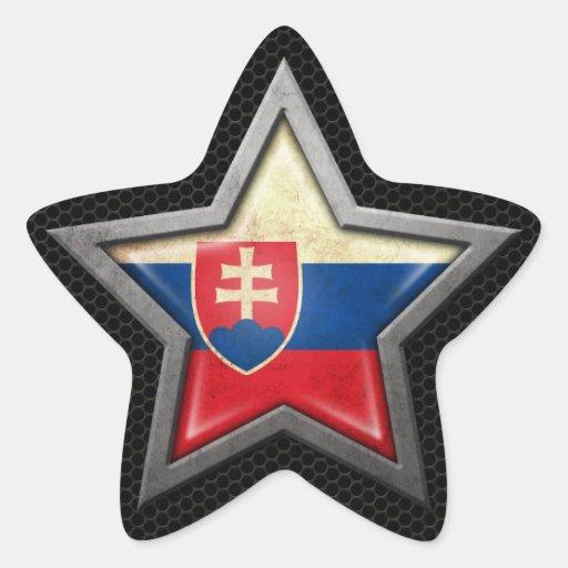 Estrella eslovaca de la bandera con el efecto de pegatina en forma de estrella