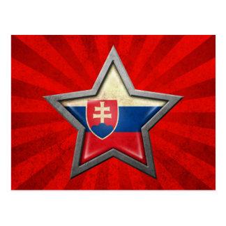 Estrella eslovaca de la bandera con los rayos de l tarjeta postal