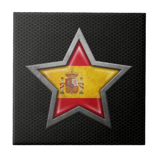 Estrella española de la bandera con el efecto de a azulejo ceramica