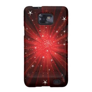 Estrella estallada - rojo galaxy SII fundas
