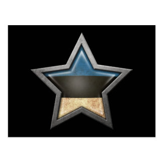 Estrella estonia de la bandera en negro tarjetas postales