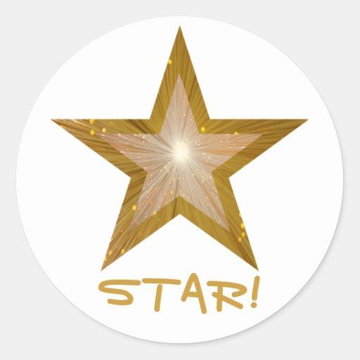 "Estrella ""ESTRELLA del oro!"" blanco redondo del Pegatina Redonda"