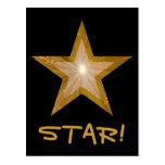 """Estrella """"ESTRELLA del oro!"""" negro de la postal"""