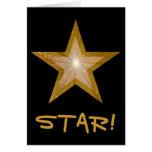 """Estrella """"ESTRELLA del oro!"""" vertical negra de la  Tarjetas"""