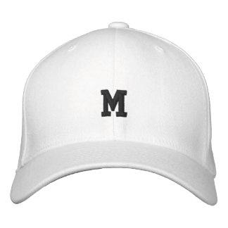 Estrella estupenda blanca con monograma gorra de béisbol bordada