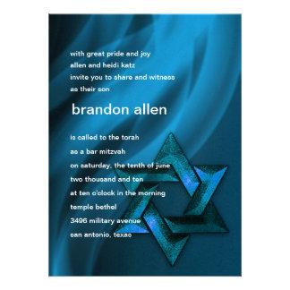 Estrella eterna de la llama de David en azul Invitación