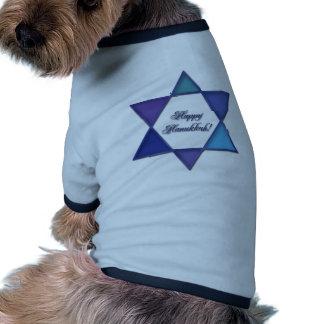 Estrella feliz de Jánuca de la ropa del mascota de Camiseta Con Mangas Para Perro