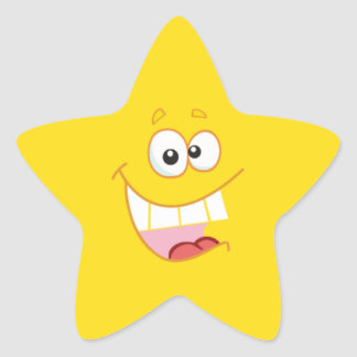 Estrella feliz del dibujo animado calcomanía cuadrada
