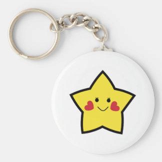 Estrella feliz llavero redondo tipo pin