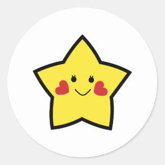Estrella feliz pegatina redonda