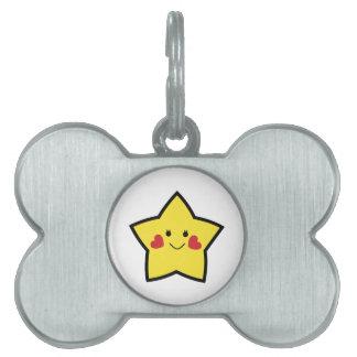 Estrella feliz placa de nombre de mascota
