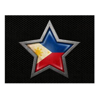 Estrella filipina de la bandera con el efecto de a tarjeta postal