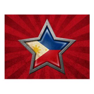 Estrella filipina de la bandera con los rayos de l tarjetas postales
