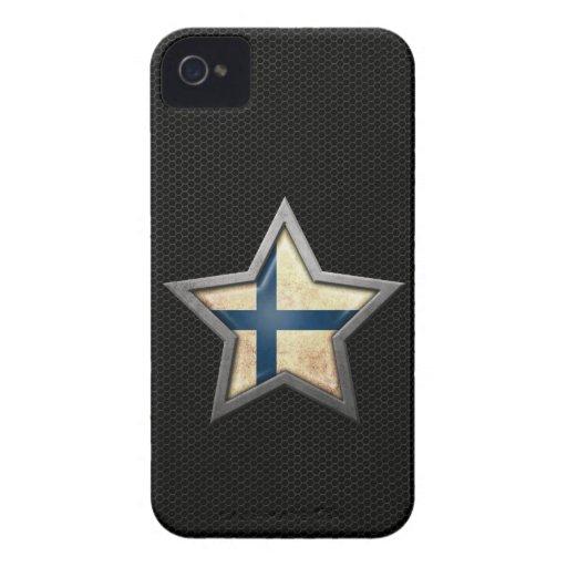 Estrella finlandesa de la bandera con el efecto de iPhone 4 funda
