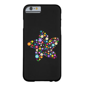Estrella floral colorida bonita funda de iPhone 6 barely there