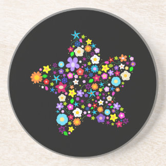 Estrella floral colorida bonita posavasos diseño