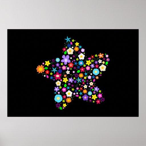 Estrella floral colorida bonita poster