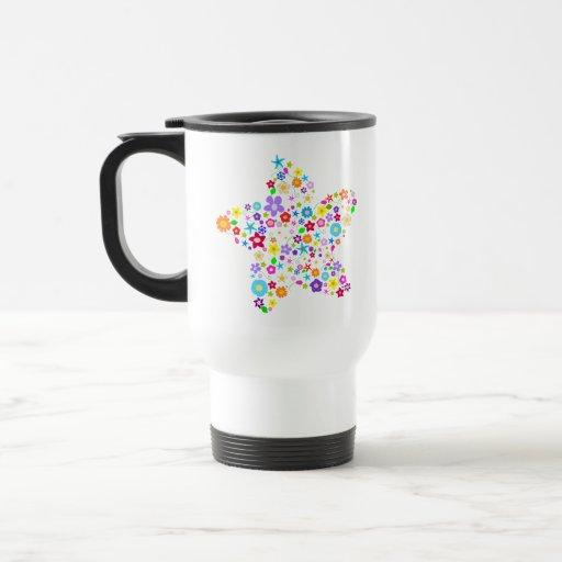 Estrella floral colorida bonita taza térmica