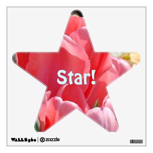 ¡Estrella! Flores rosadas del tulipán de las Vinilo Adhesivo
