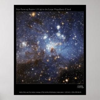 Estrella-Formación de LH 95 de la región en el Mag Póster