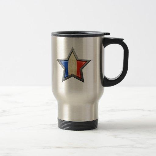 Estrella francesa de la bandera tazas de café
