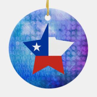 Estrella fresca de la bandera de Chile Adorno Redondo De Cerámica
