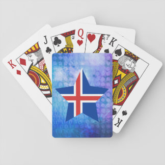 Estrella fresca de la bandera de Islandia Cartas De Juego