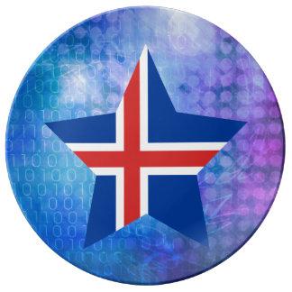 Estrella fresca de la bandera de Islandia Plato De Cerámica