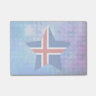 Estrella fresca de la bandera de Islandia Post-it® Nota