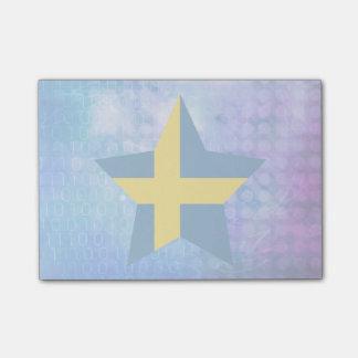 Estrella fresca de la bandera de Suecia Nota Post-it