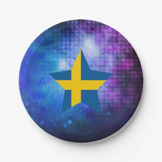Estrella fresca de la bandera de Suecia Plato De Papel De 7 Pulgadas