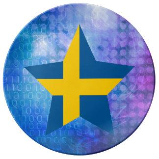 Estrella fresca de la bandera de Suecia Platos De Cerámica