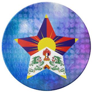 Estrella fresca de la bandera de Tíbet Plato De Cerámica
