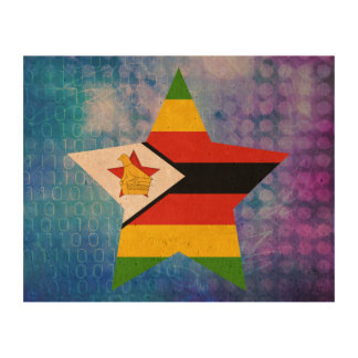 Estrella fresca de la bandera de Zimbabwe Impresión En Corcho