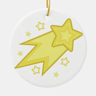 Estrella fugaz adorno navideño redondo de cerámica