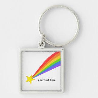 Estrella fugaz del arco iris llavero cuadrado plateado