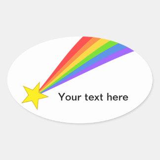 Estrella fugaz del arco iris pegatina ovalada