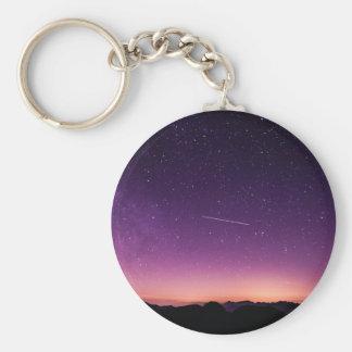 Estrella fugaz en cielo llavero redondo tipo pin