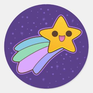 Estrella fugaz feliz linda pegatina redonda