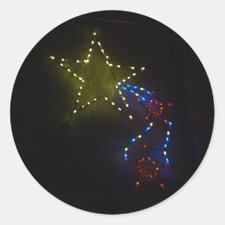 Estrella fugaz pegatina redonda