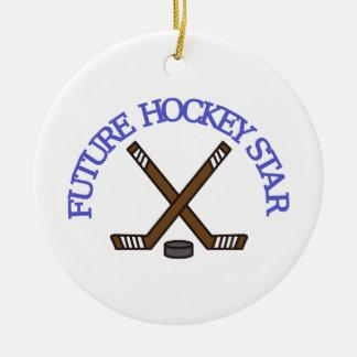 Estrella futura del hockey adorno redondo de cerámica