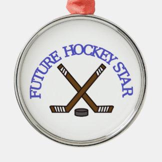 Estrella futura del hockey adorno redondo plateado