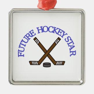 Estrella futura del hockey adorno cuadrado plateado